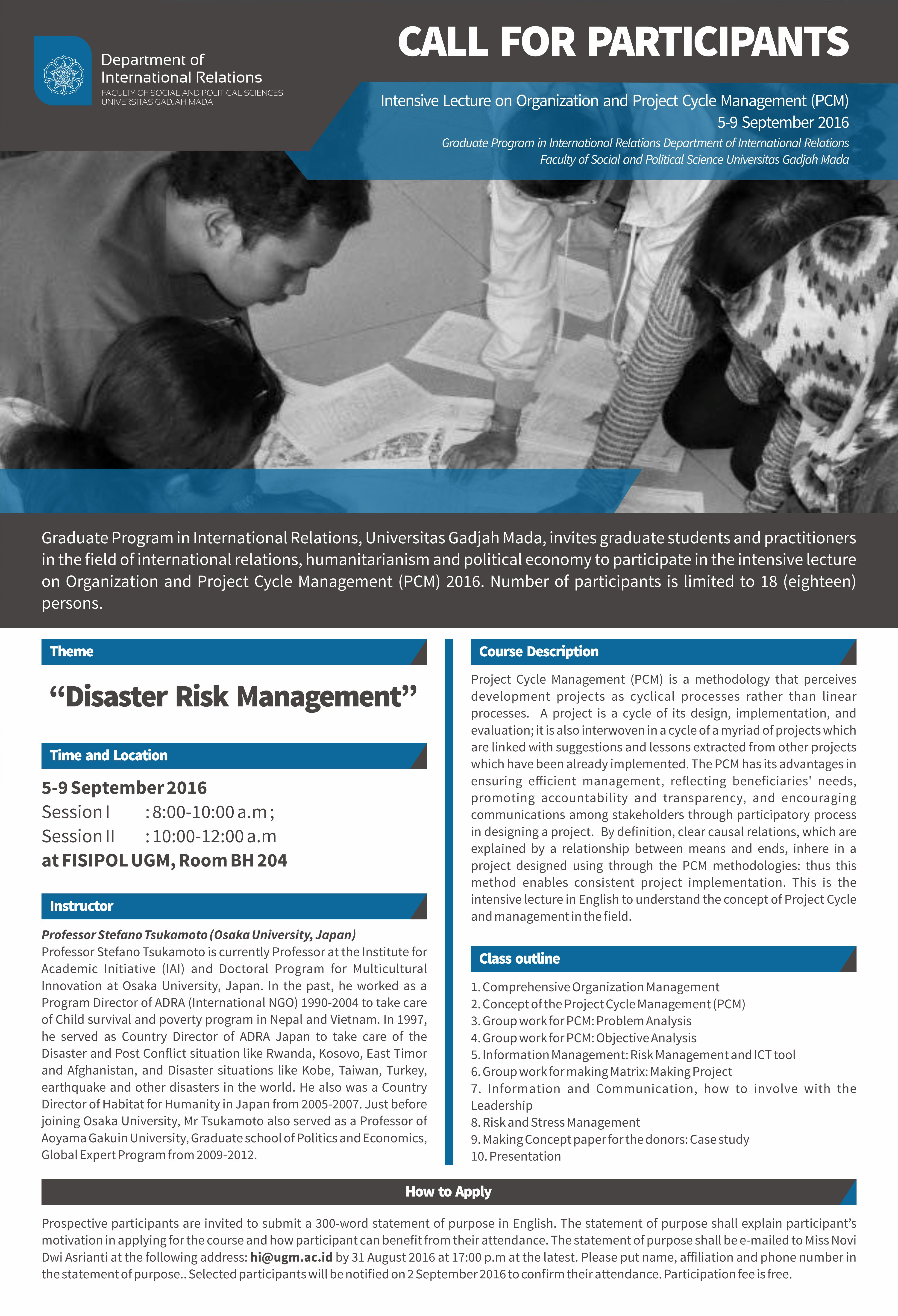 (S2) CALL FOR PARTICIPANTS Intensive Lecture on Organization and Project Cycle Management (PCM), 5-9 September 2016